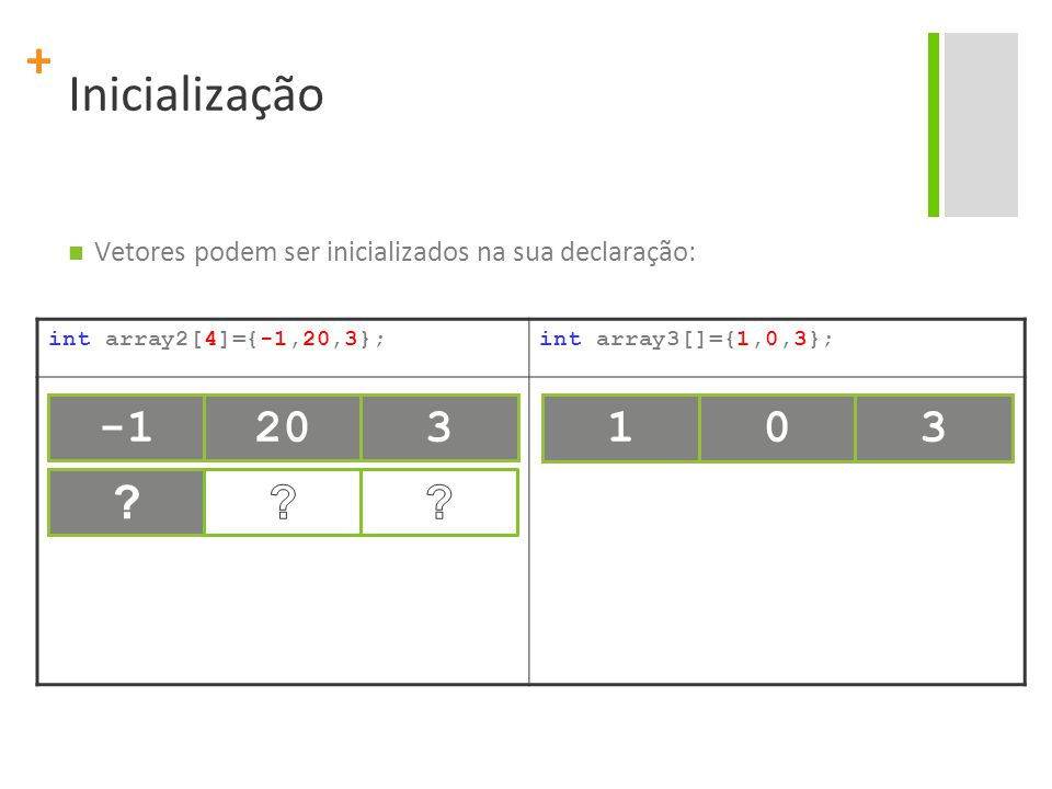 Inicialização Vetores podem ser inicializados na sua declaração: int array2[4]={-1,20,3}; int array3[]={1,0,3};